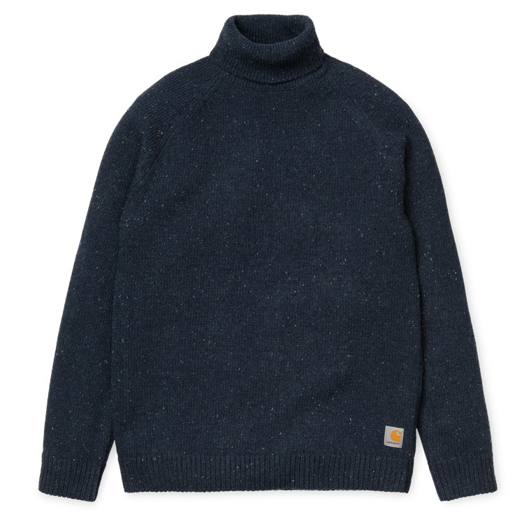 Carhartt Anglistic Turtleneck Sweater Navy Heather