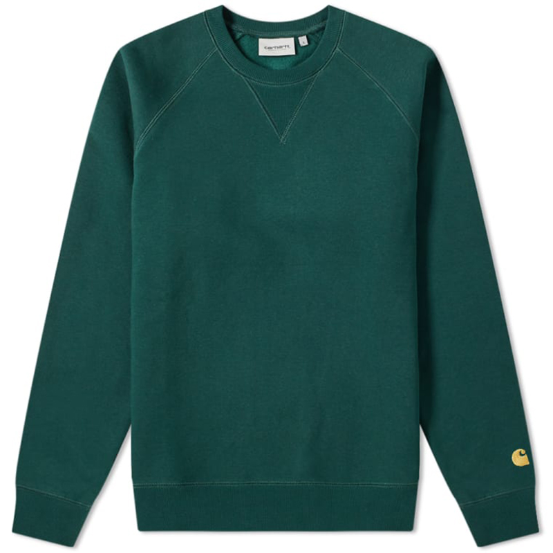 Carhartt Chase Crewneck Sweater Bottle Green/Gold