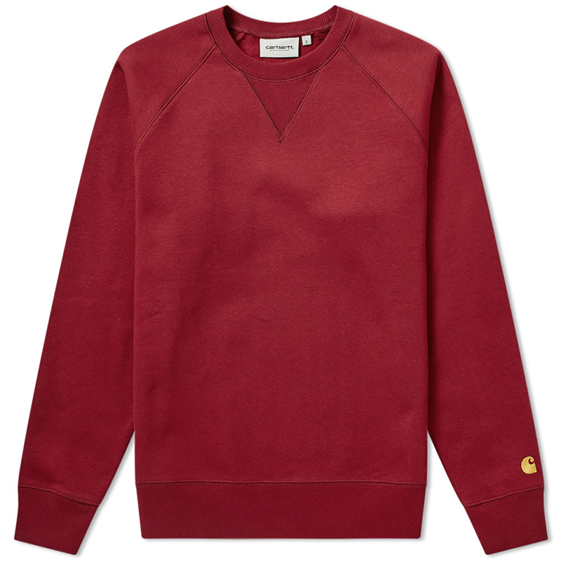 Carhartt Chase Crewneck Sweater Cranberry/Gold