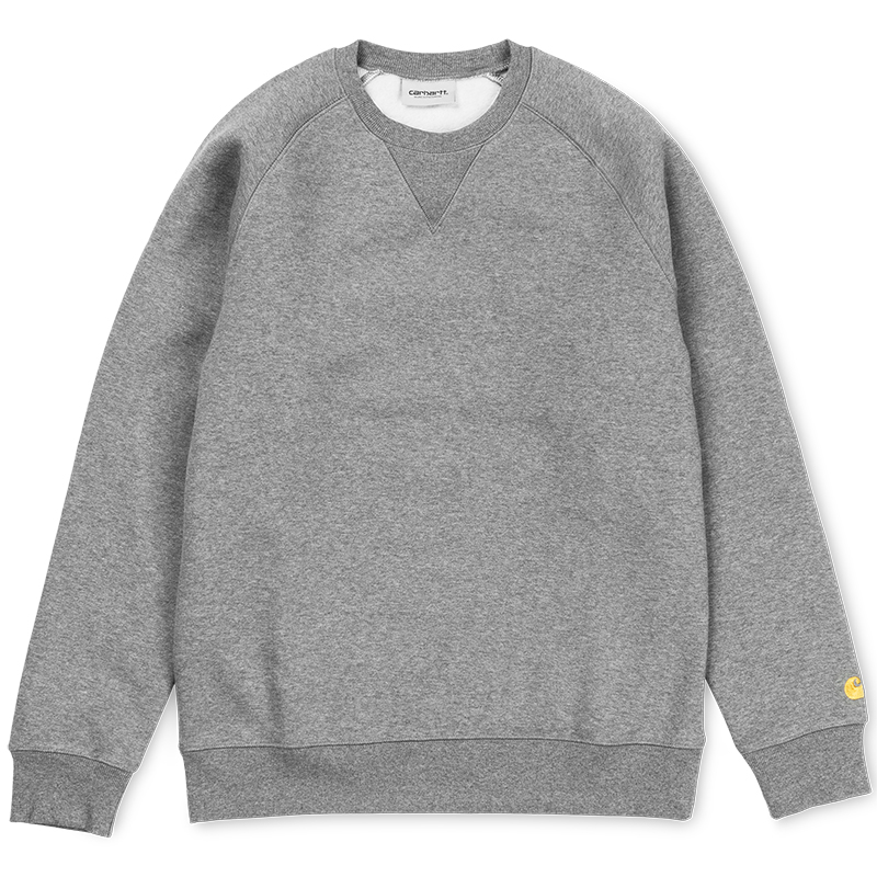 Carhartt Chase Crewneck Sweater Dark Grey Heather/Gold