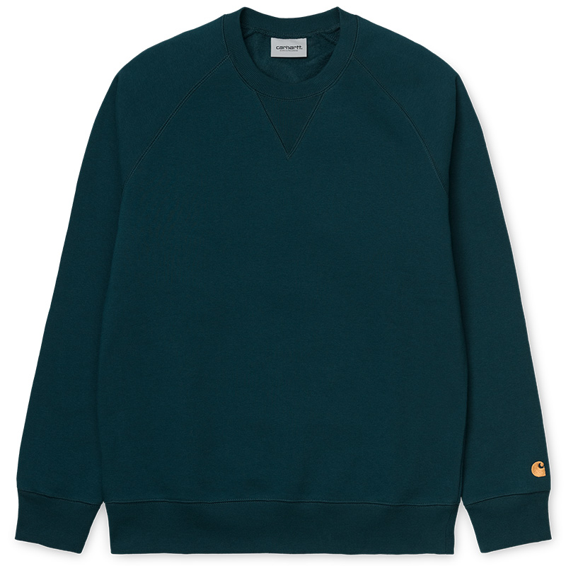Carhartt Chase Crewneck Sweater Duck Blue/Gold