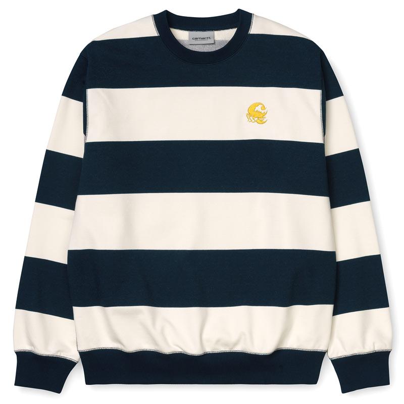 Carhartt WIP Alvin Stripe Sweater Black Dark Navy/Wax/Colza
