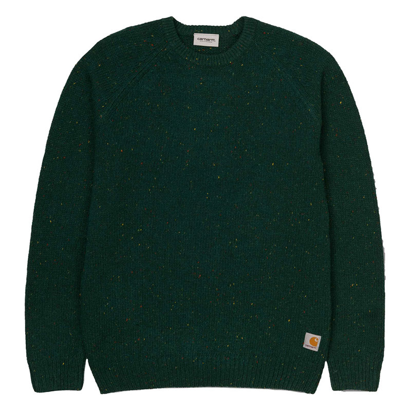 Carhartt WIP Anglistic Sweater Bottle Green Heather