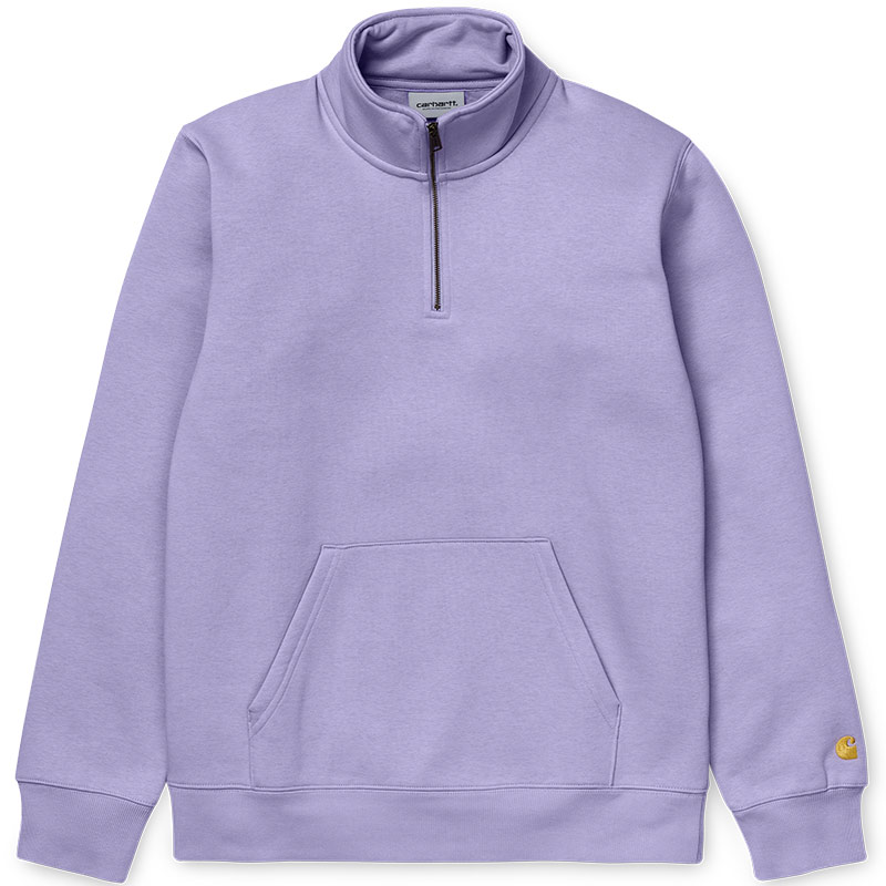 Carhartt WIP Chase Zip Neck Sweater Soft Lavender/Gold