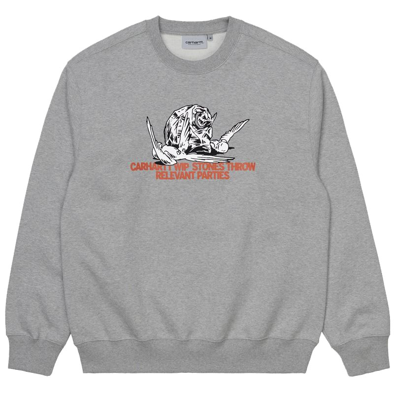Carhartt WIP X Relevant Parties Stones Throw Sweatshirt Grey Heather