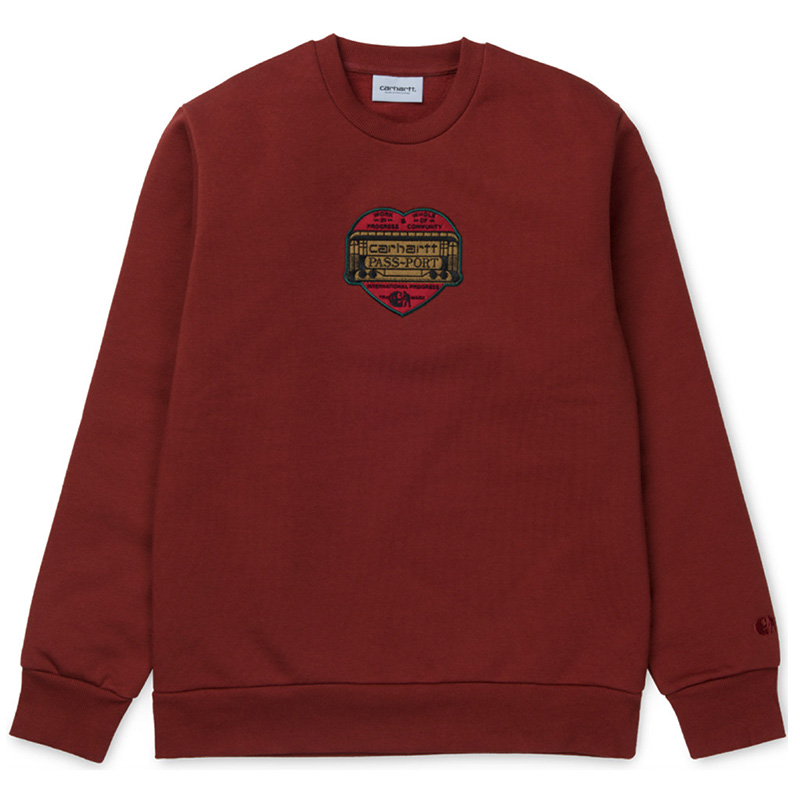Carhartt WIP X Pass Port Thank You Crewneck Sweater Burnt Red