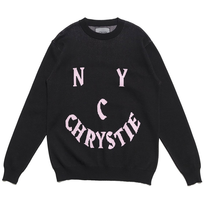 Chrystie NYC Smile Log Knit Sweater Black