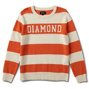 Diamond Striped Wool Sweater Orange