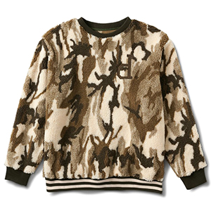 Diamond Un Polo Sherpa Crewneck Sweater Tan
