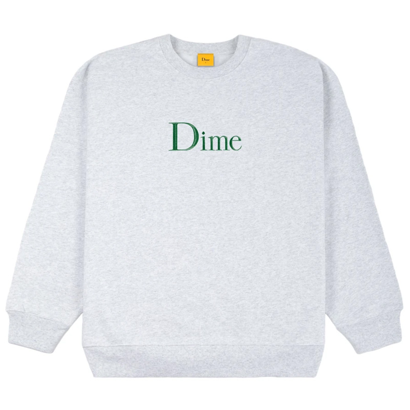 Dime Classic Embroidered Crewneck Sweater Ash