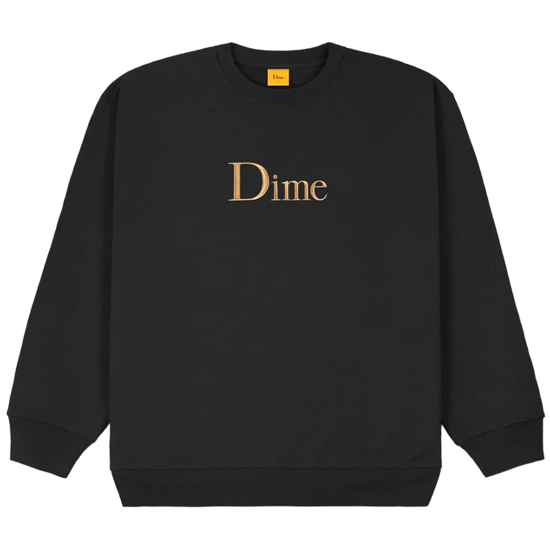 Dime Classic Embroidered Crewneck Sweater Black