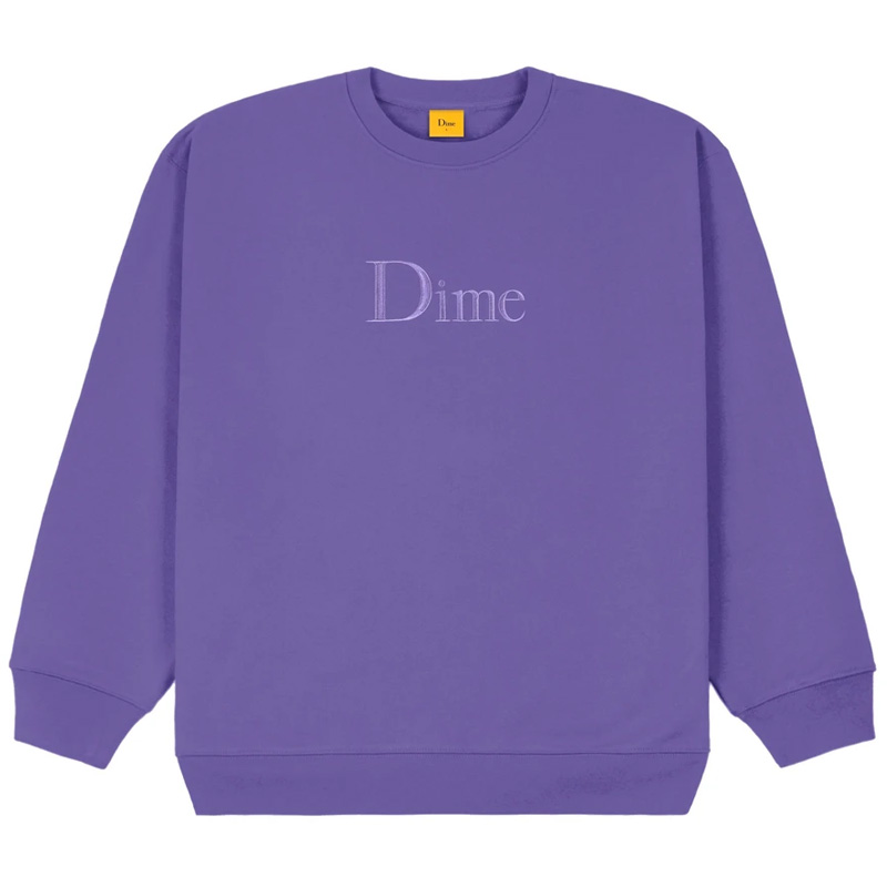Dime Classic Embroidered Crewneck Sweater Iris
