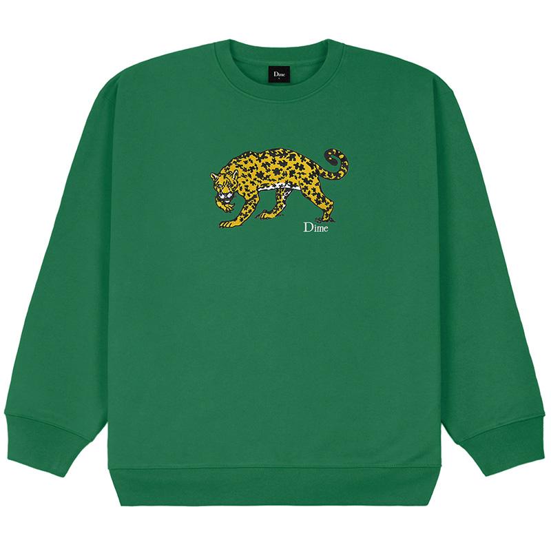 Dime Puzzle Cat Crewneck Sweater Green