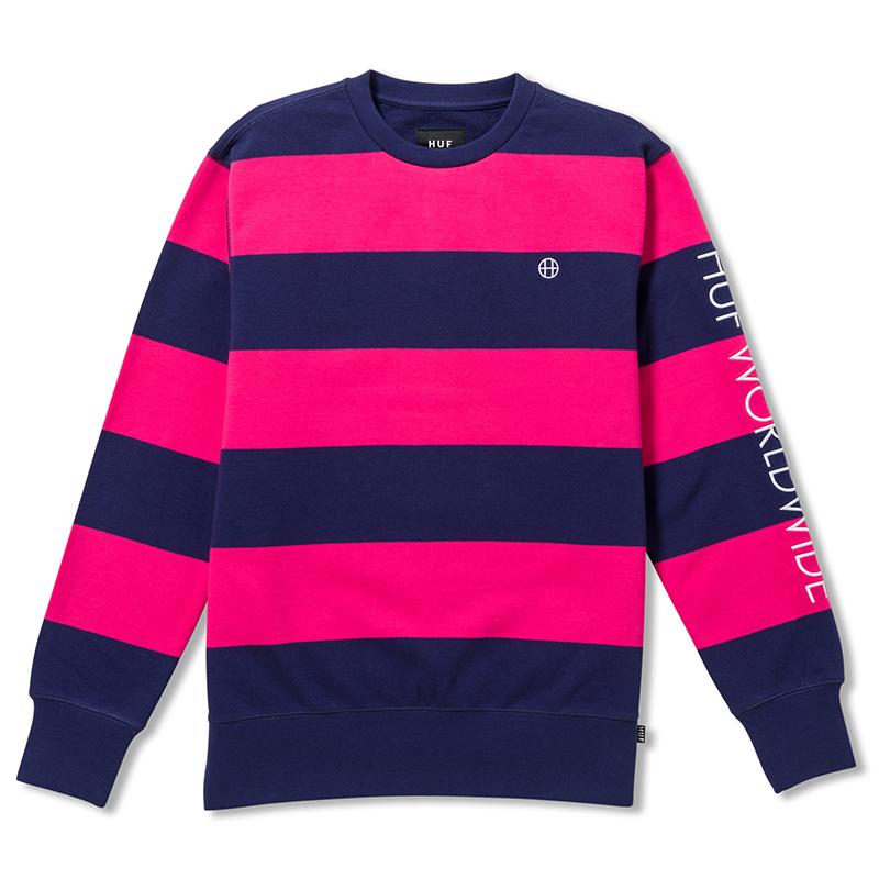HUF Catalina Stripe Crewneck Sweater Magenta