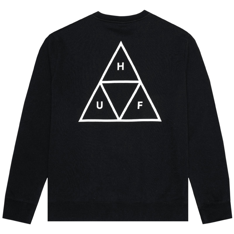 HUF Essentials Triple Triangle Crewneck Sweater Black