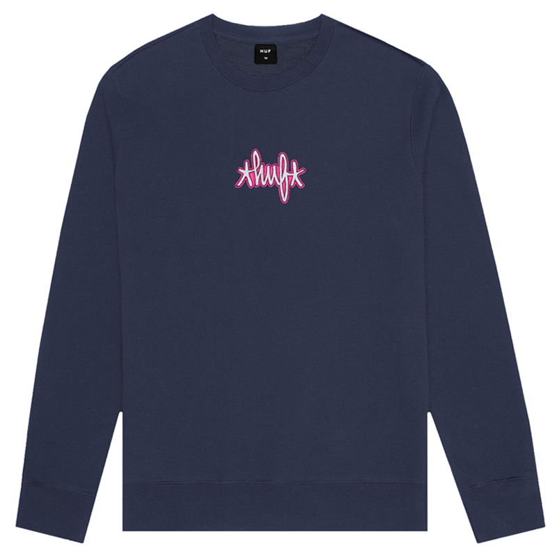 HUF Landmark Logo Crewneck Sweater Navy Blazer