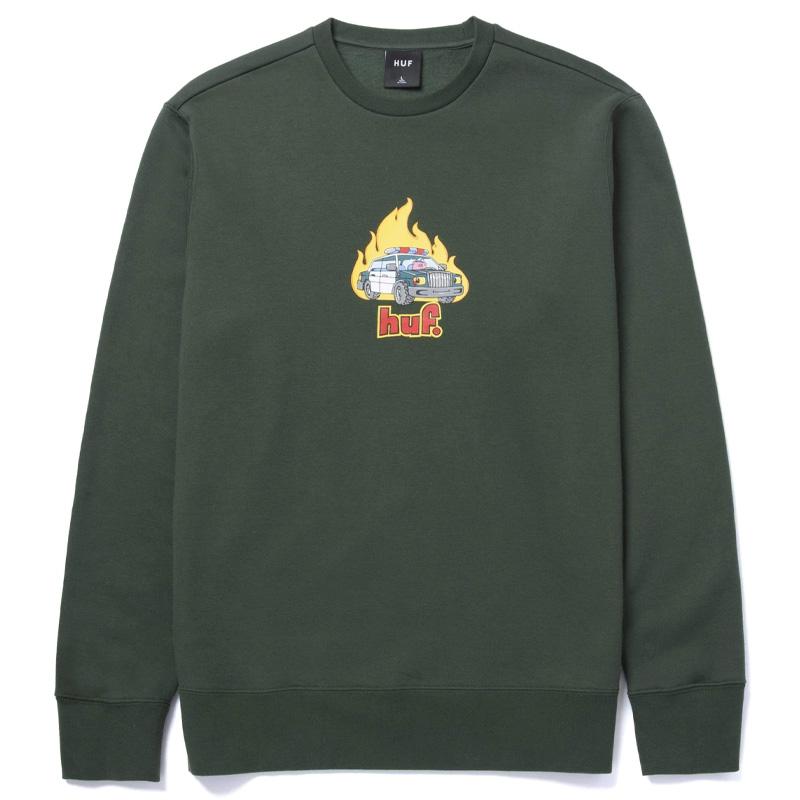 HUF Roasted Crewneck Sweater Dark Green