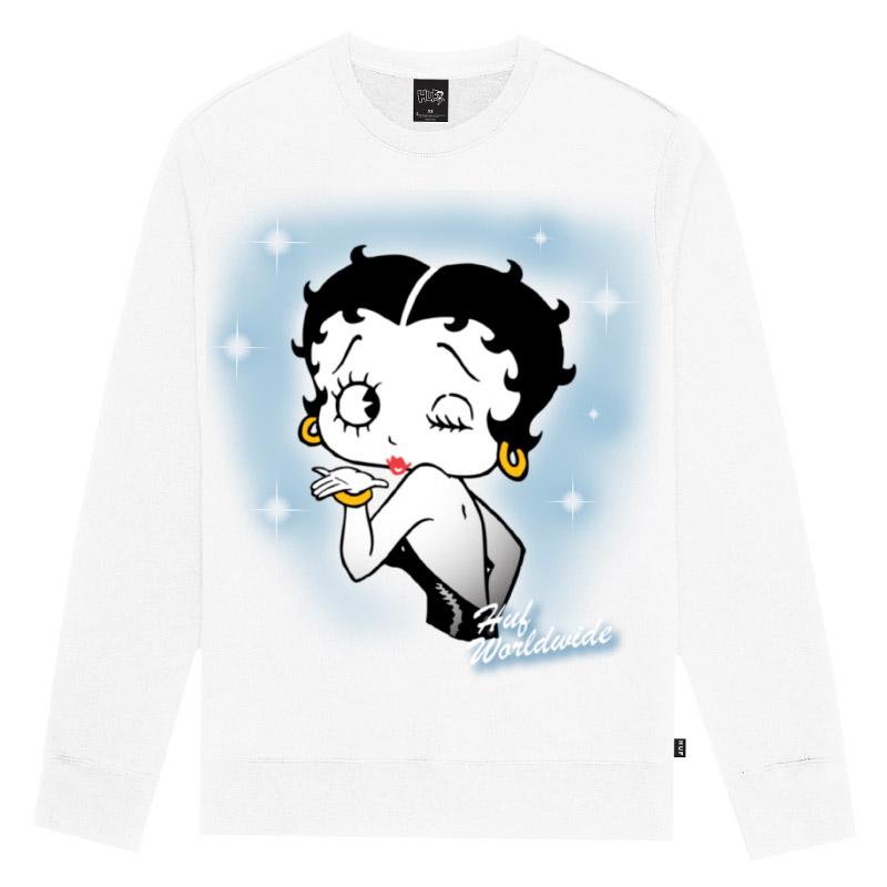 HUF X Betty Boop Air Brush Crewneck Sweater White