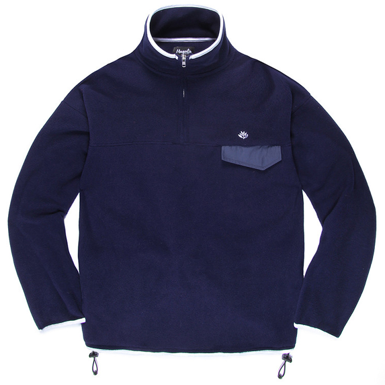 Magenta 1/4 Zip Fleece Mockneck Sweater Navy