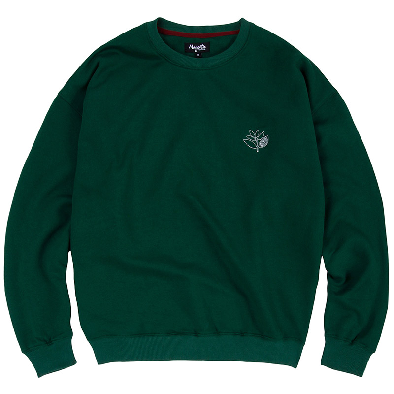 Magenta Outline Embroidered Crewneck Sweater Green