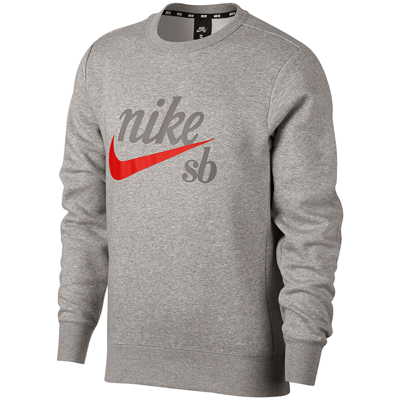 Nike SB Craft Crewneck Sweater Drk Gry Hthr/Habanero Red