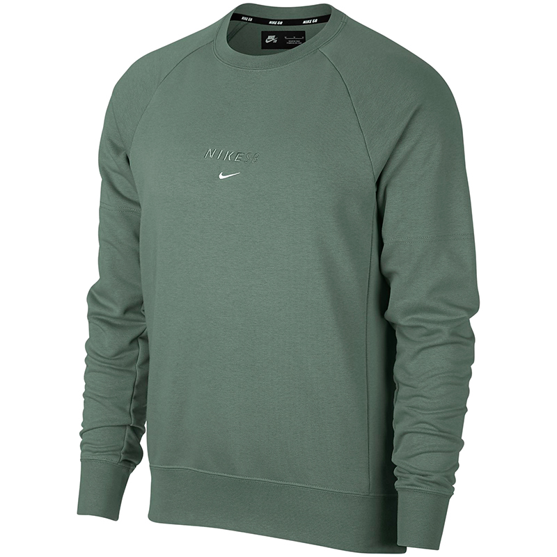 Nike SB Everett Dry Crewneck Sweater Clay Green/White