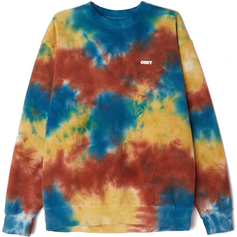 Obey Bold 3 Tie Dye Crewneck Sweater Auburn