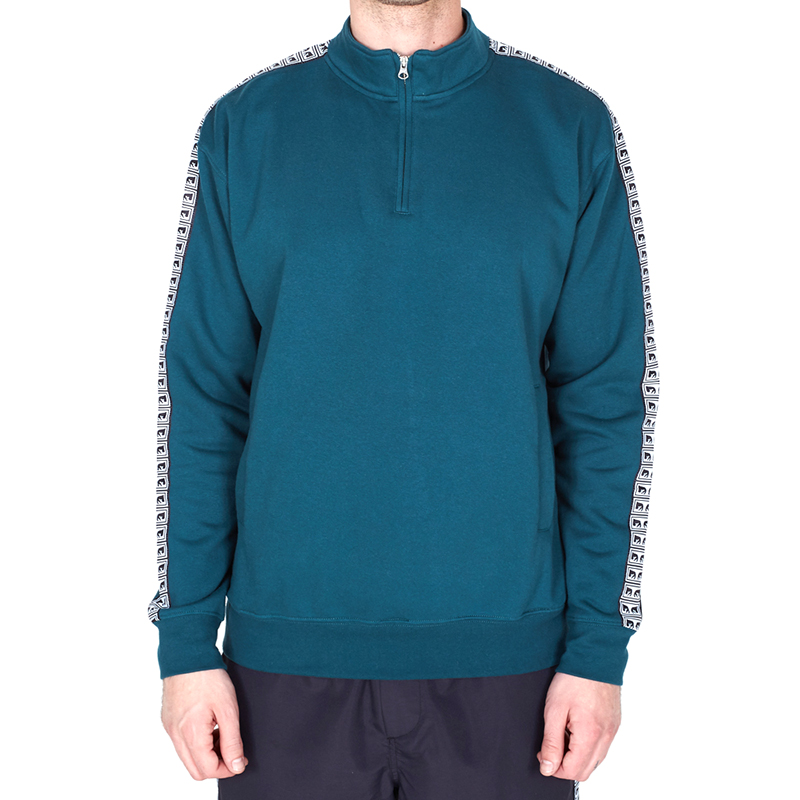 Obey Bridges Mock Neck Zip Sweater Dark Teal