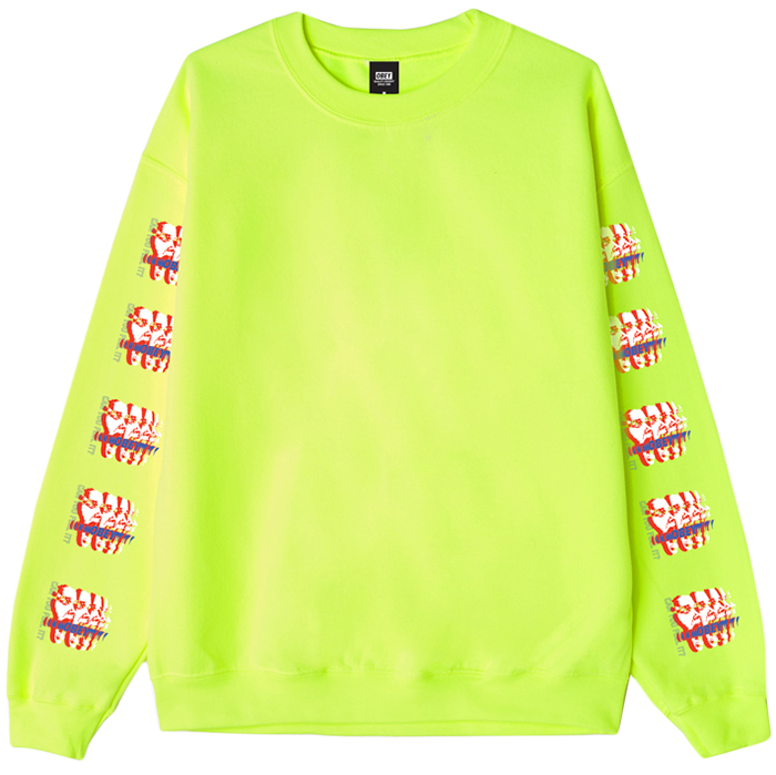 Obey Can You Feel It Crewneck Sweater Safety Green