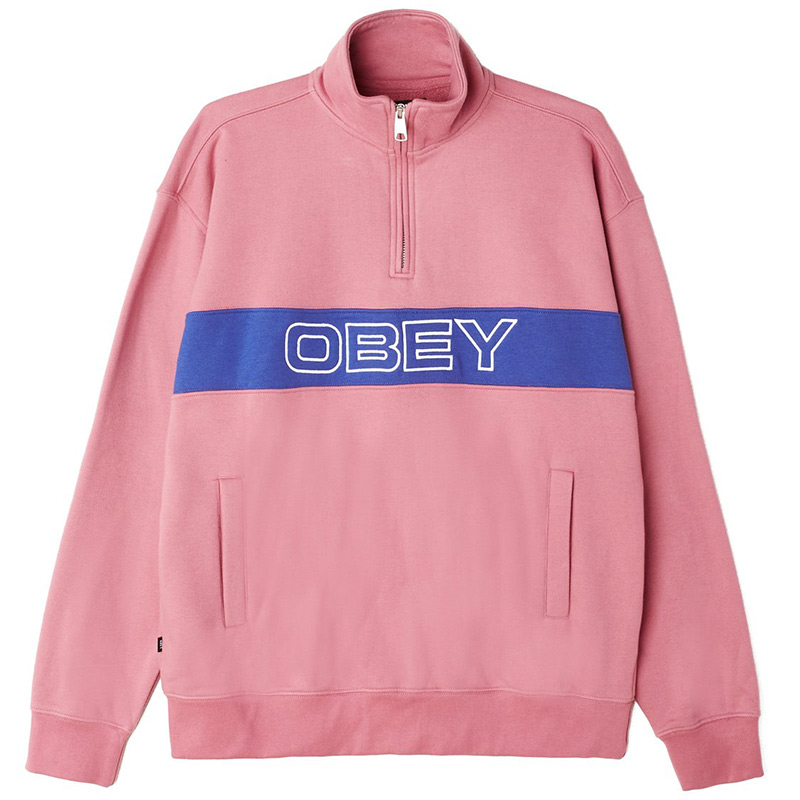 Obey Court Zip Mock Sweater Cassis Multi