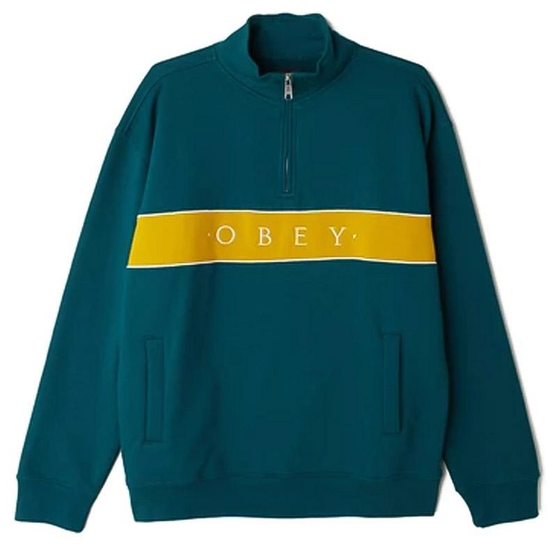 Obey Deal Mockneck Sweater Deep Teal Multi