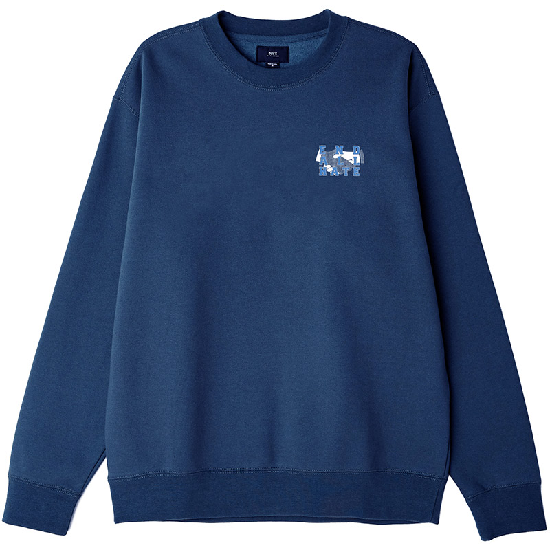 Obey End All Hate Crewneck Sweater Slate Blue