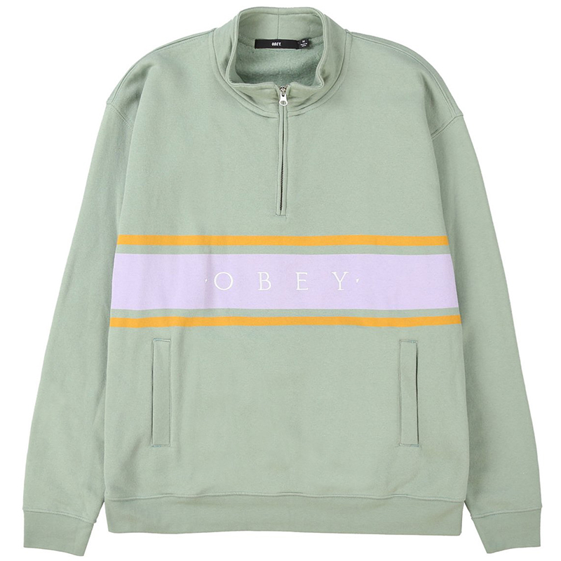 Obey Gaze Mock Neck Zip Sweater Light Sage