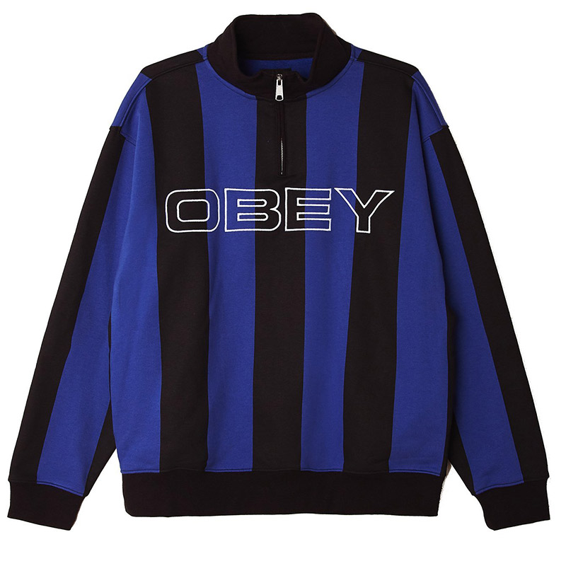 Obey Goal Zip Mock Neck Sweater Blue Multi