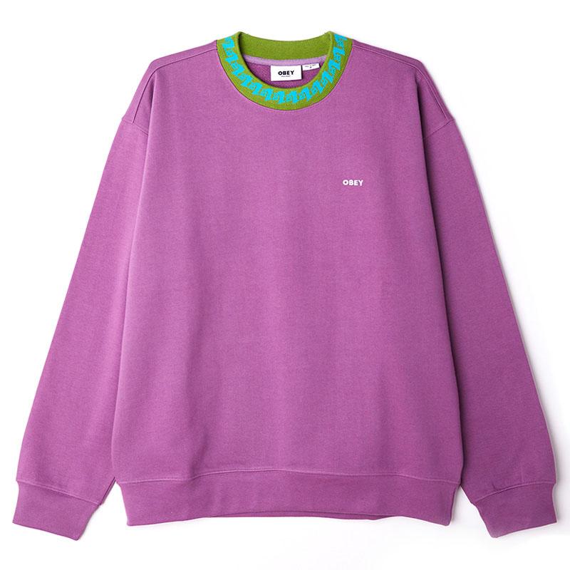 Obey Jacquard Crewneck Sweater Purple Nitro