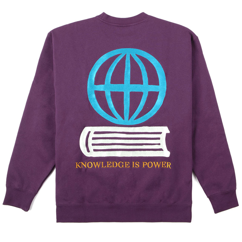 Obey Knowledge Crewneck Sweater Blackberry Wine