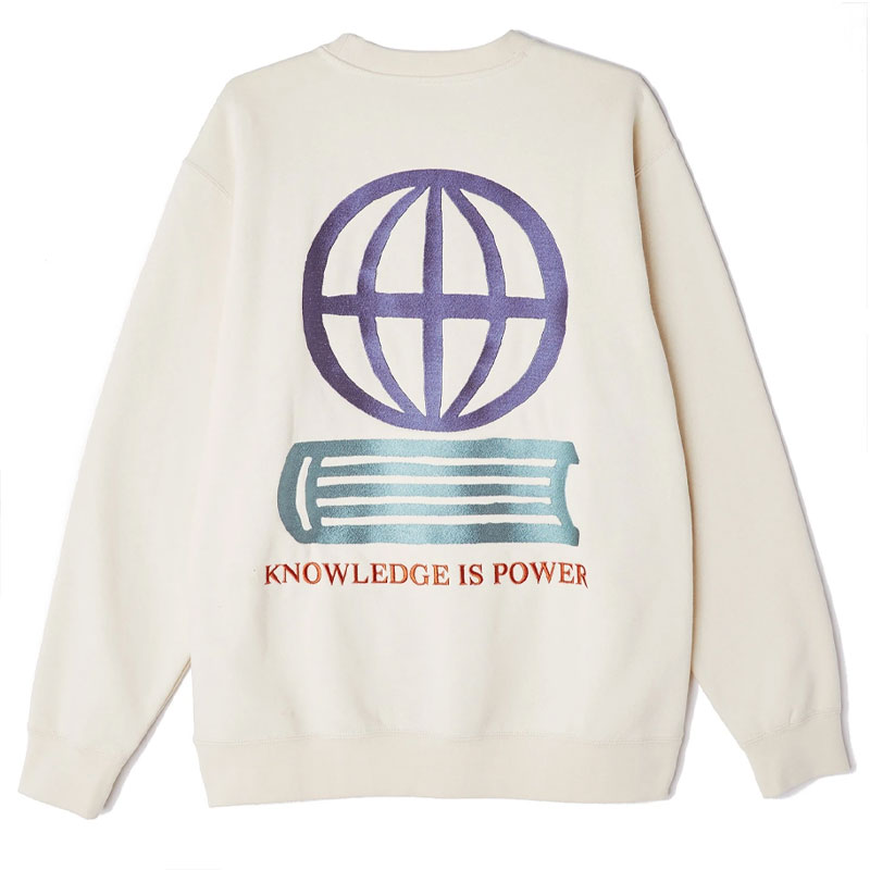 Obey Knowledge Crewneck Sweater Natural