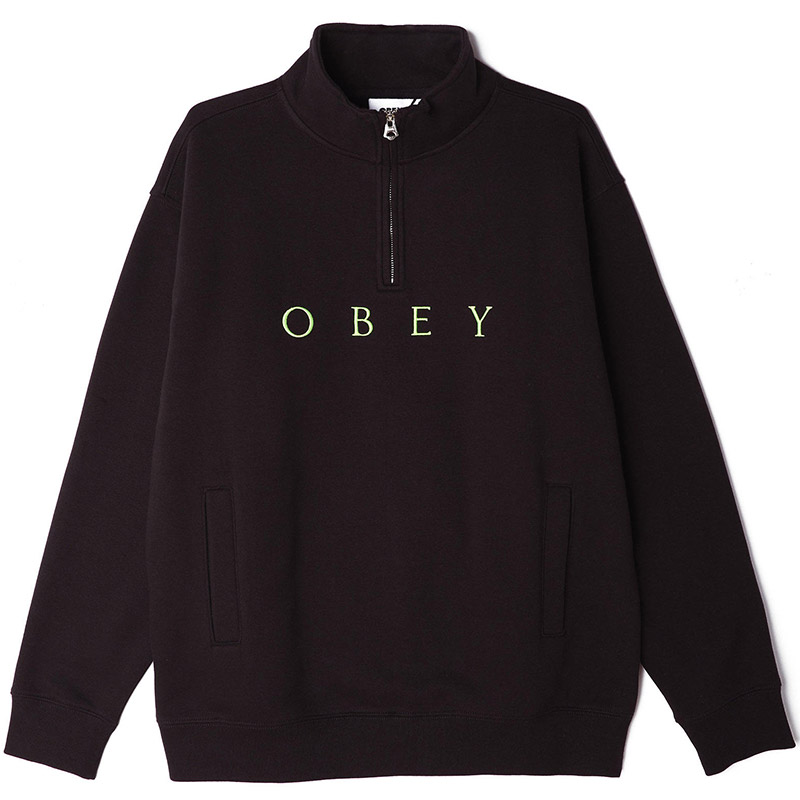 Obey Lassen Mock Neck Zip Sweater Black