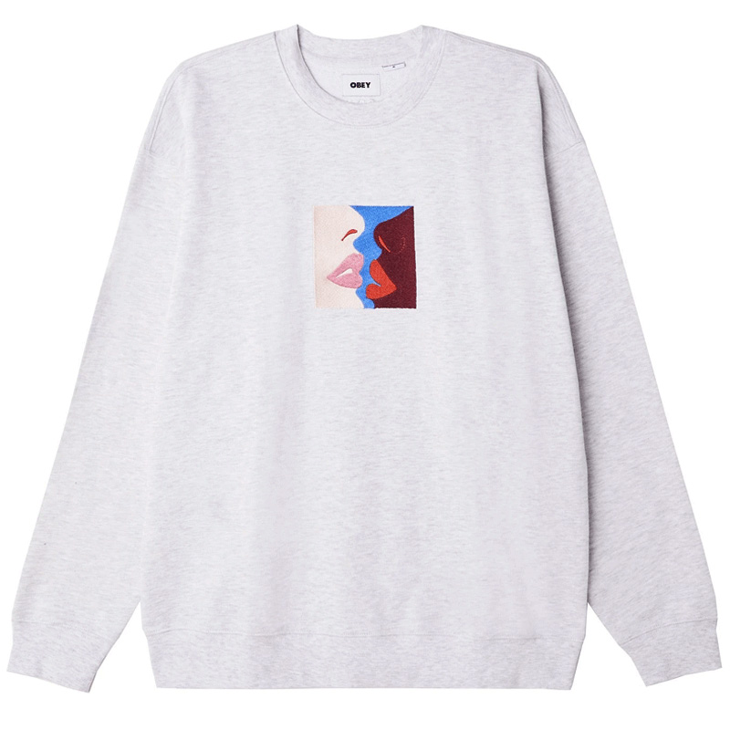 Obey Lips Crewneck Sweater Ash Grey