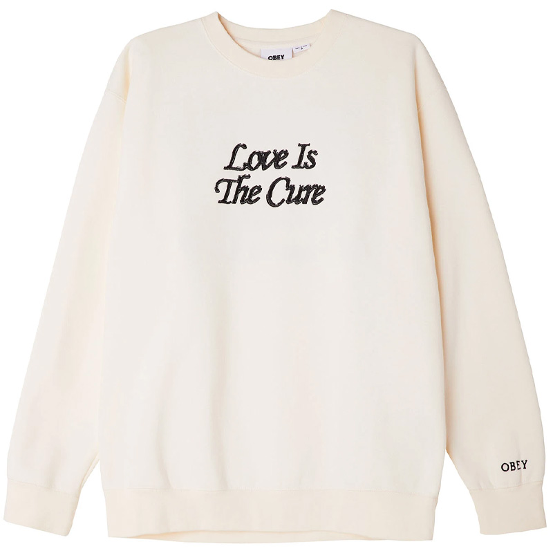 Obey Love Is The Cure Crewneck Sweater Unbleached