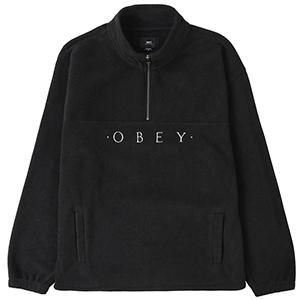 Obey Mountain Mock Zip Sweater Black
