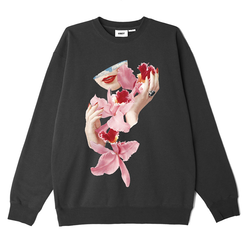 Obey Orchid Crewneck Sweater Black