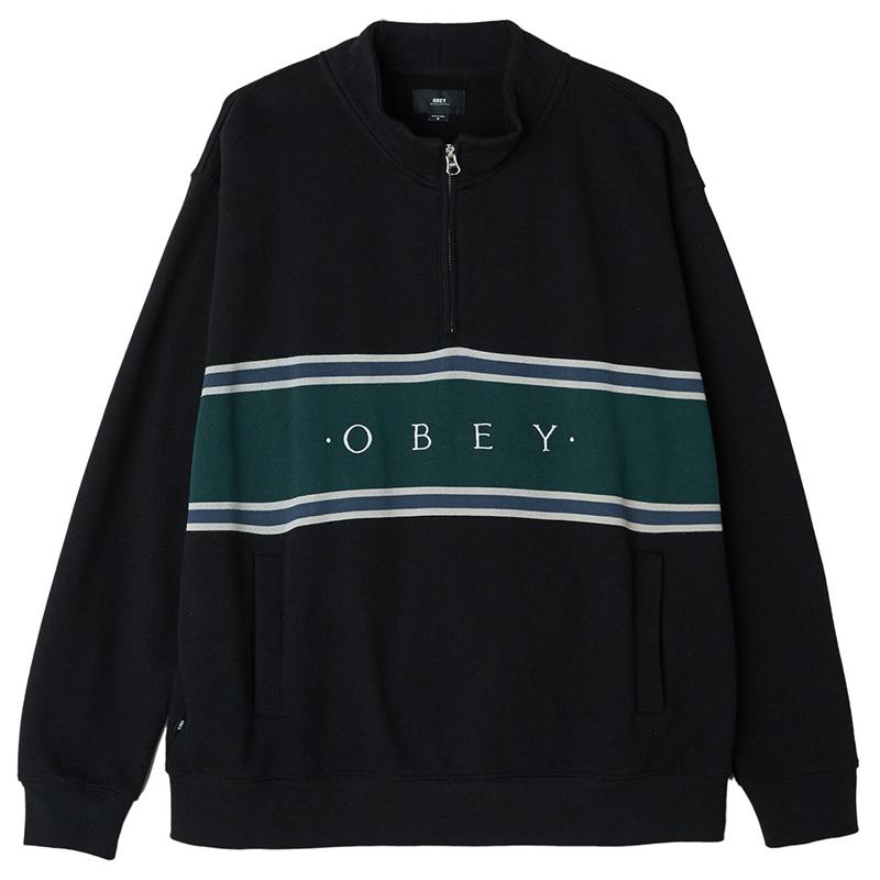 Obey Palisade Mock Neck Zip Sweater Black