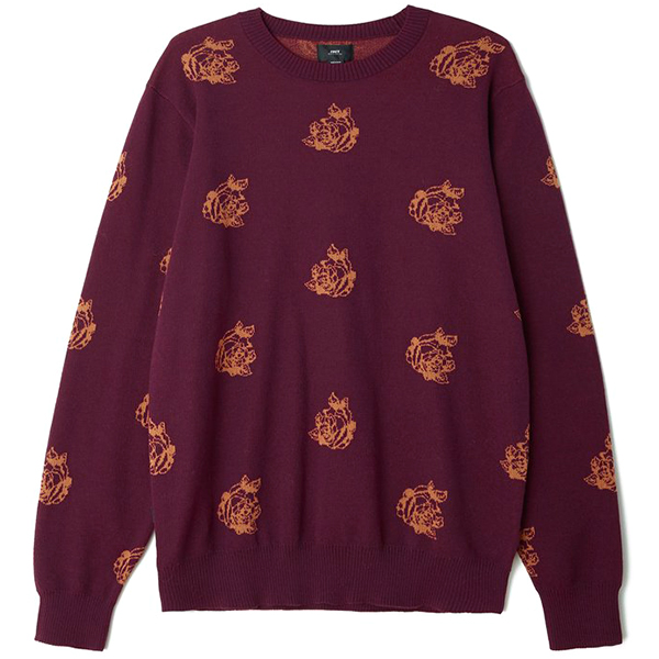 Obey Shepard Rose Crewneck Sweater Eggplant Multi