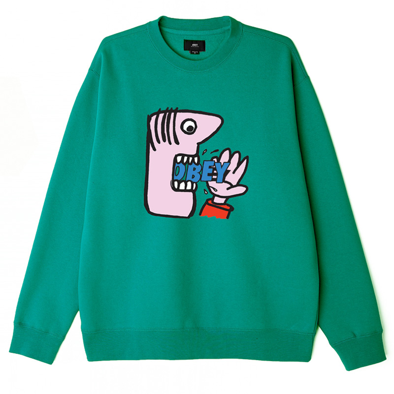 Obey Still Hungry Crewneck Sweater Eucalyptus