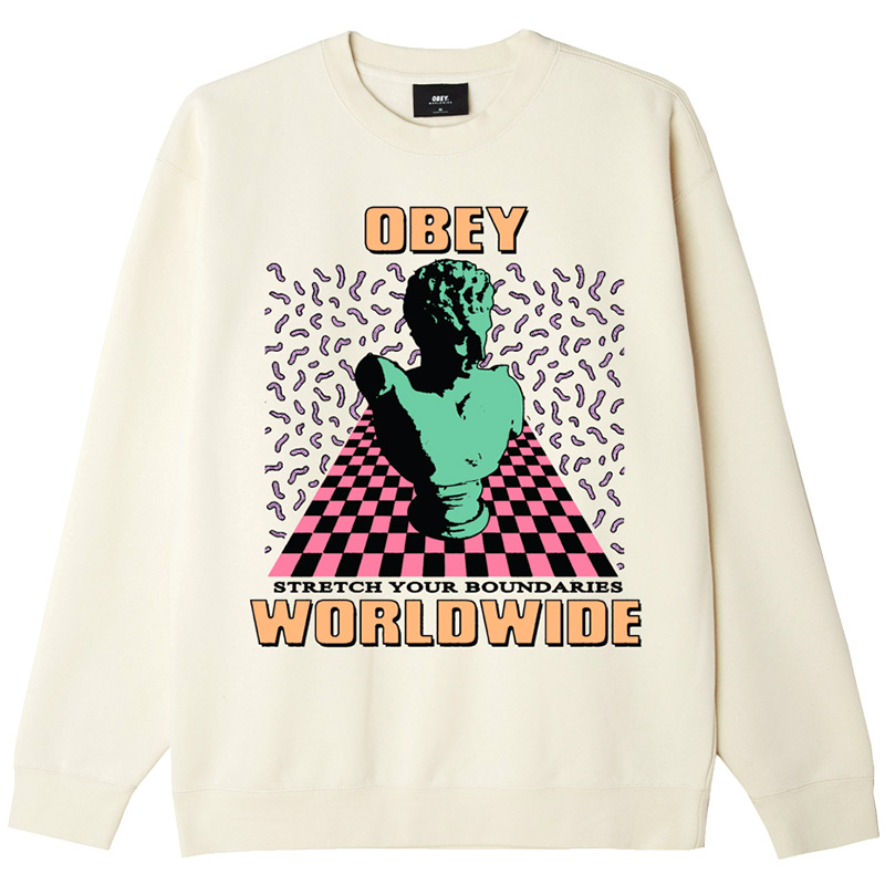 Obey Stretch Your Boundries Crewneck Sweater Natural