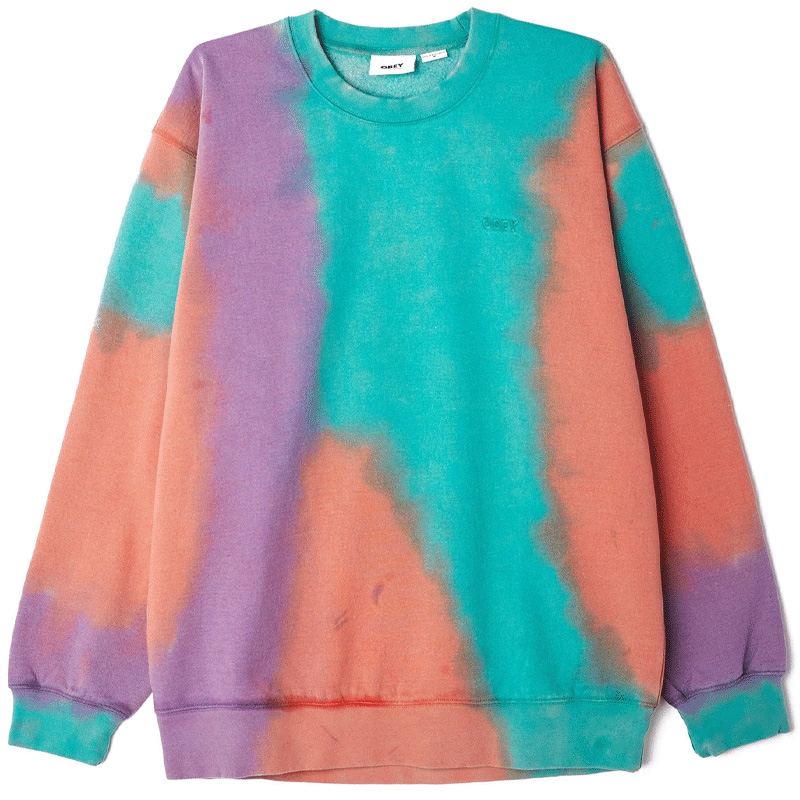 Obey Sustainable Tie Dye Crewneck Sweater Purple Nitro Multi