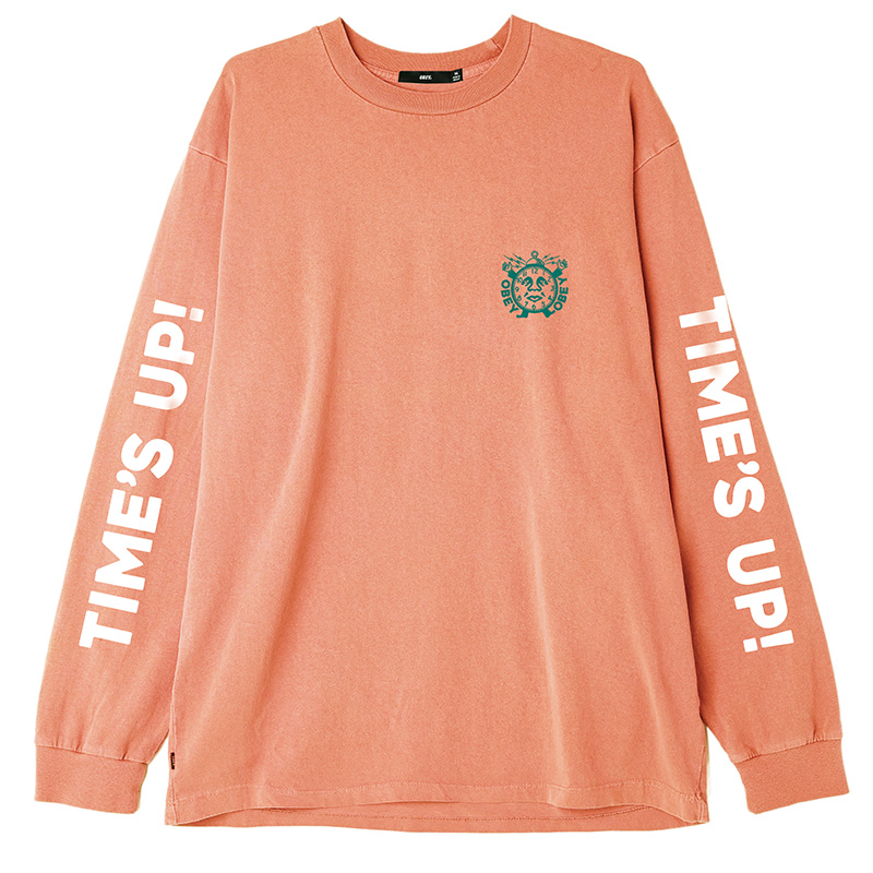 Obey Time'S Up Longsleeve T-Shirt Dusty Raw Terracotta