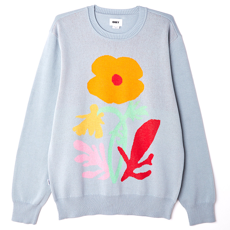 Obey Traces Sweater Good Grey Multi