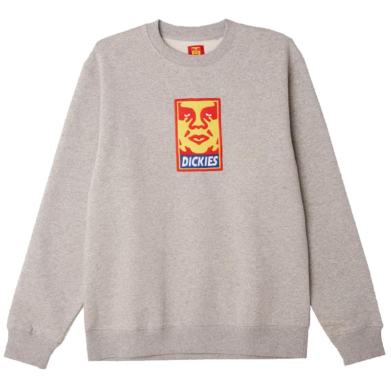 Obey x Dickies Heavyweight Crewneck Sweater Grey Melange